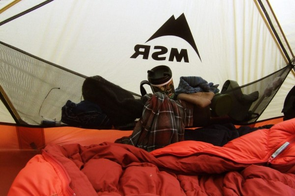 Photograph of a full gear pocket in a MSR Mutha Hubba tent