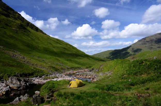 Mutha Hubba tent camped by the River Etive in Glen Etive, Scotland.