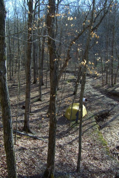 Camping in the wild,  Smith Mill Hollow, Berryman Trail
