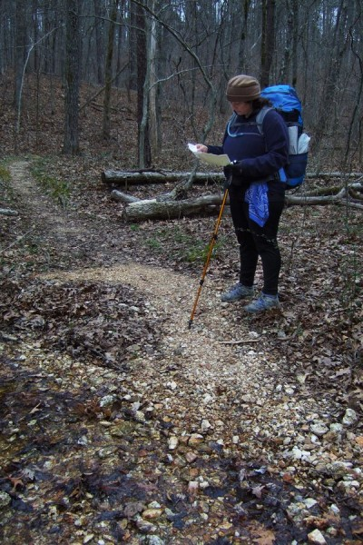 Ginger Davis Allman checking the map on the last leg of the Berryman Trail