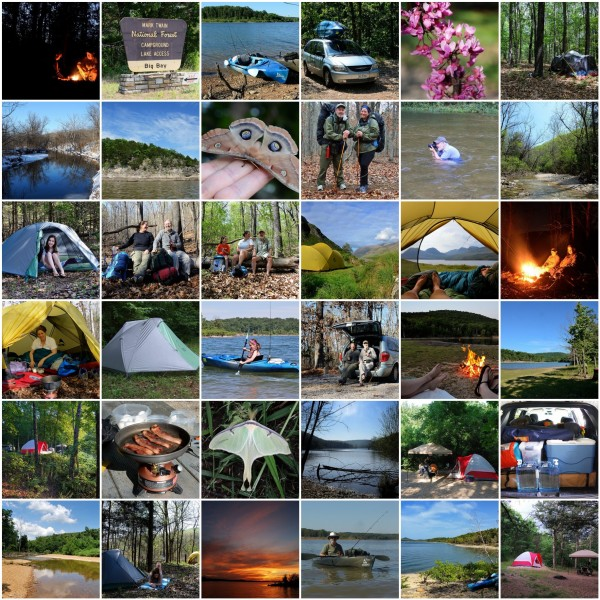 Mosaic of images of Gary and Ginger Allman camping, backpacking, and kayaking - Ozarks Walkabout