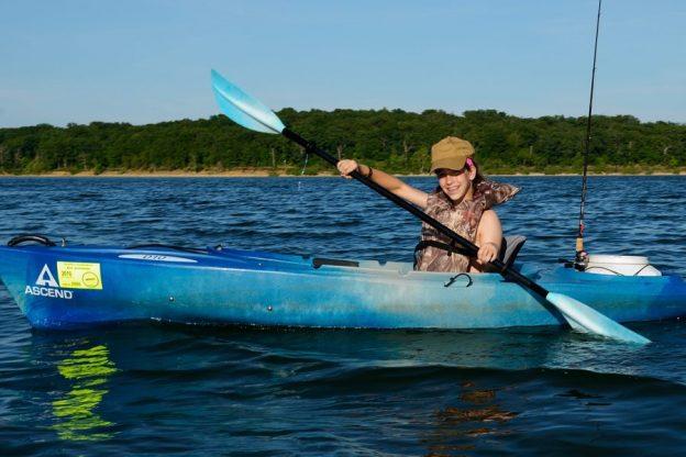 Photograph of 13 YO Lanie kayaking on Stockton Lake June 2012.