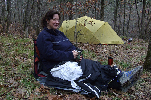 Sitting in my Therm-A-Rest chair drinking coffee at the campsite in Hercules Glades Wilderness.