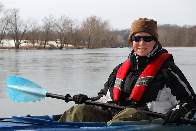 Kayaking amongst the ice in an Ascend D10 kayak on Lake Springfield in January.