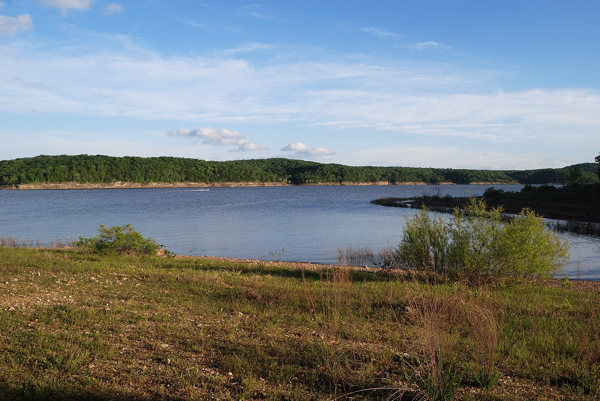 View of Truman Lake from a campsite at Berry Bend Campground in Henry County, Missouri