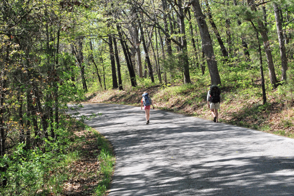 Man and girl wearing backpacks hike on a road in a wooded wilderness in Piney Creek Wilderness in Barry County, Missouri.