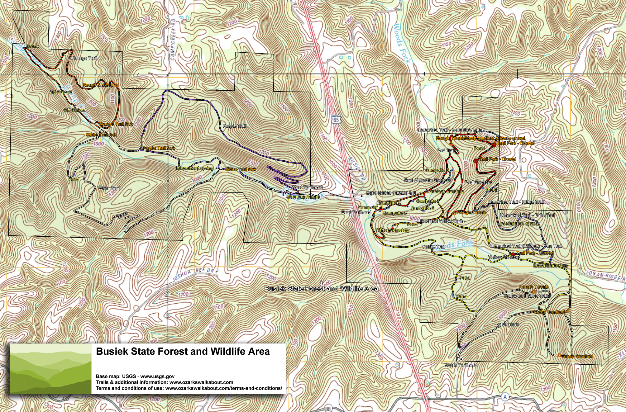 Trail Map: Busiek State Forest and Wildlife Area - Ozarks Walkabout