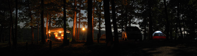 Pines Overlook Campsite at night