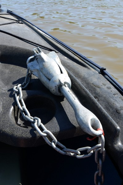 You can see the red bread tie used to secure the chain to the eye in the anchor's shank.