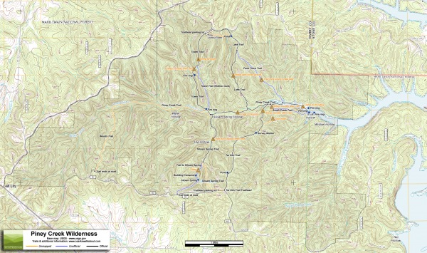 Piney Creek Wilderness Trail Map