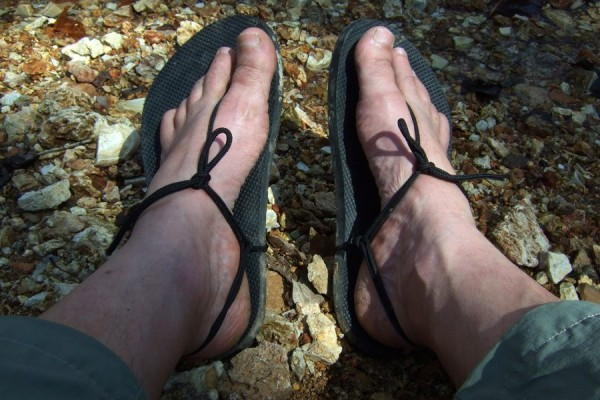 Photograph of a pair of homemade hiking huaraches