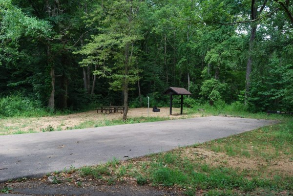 Picture of a double campsite including picnic table and grill