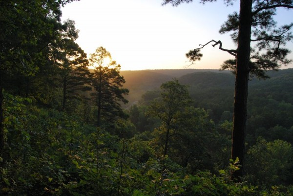 Photograph of the sunrising over the Huzzah Valley, Red Bluff Campground