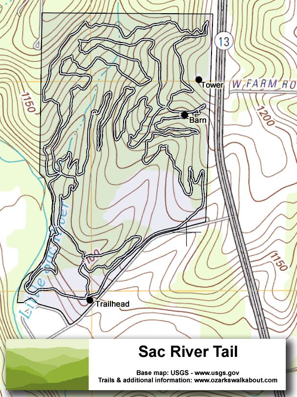Trail Map: Sac River Trail, Springfield Missouri - Ozarks Walkabout