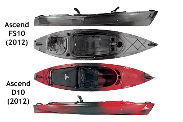 Top and side views of the Ascend D10 & FS10 sit in Kayaks. Images: Bass Pro.