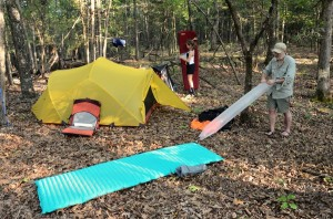 Setting up camp off the Trail near Lower Pilot Knob, Hercules Glades Wilderness