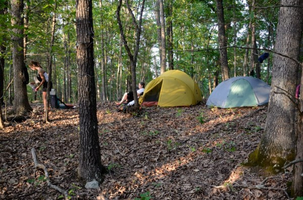 Camped in the woods to the north of Lower Pilot Knob