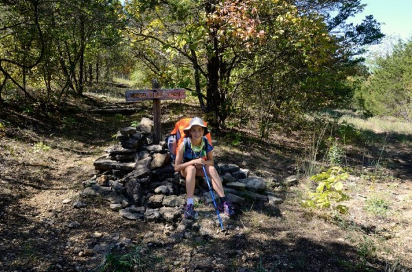 Junction of the Devil's Den East Trail and Pilot Knob Trail