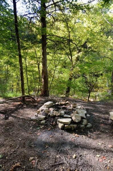 Fire ring - campsite above Long Creek Falls