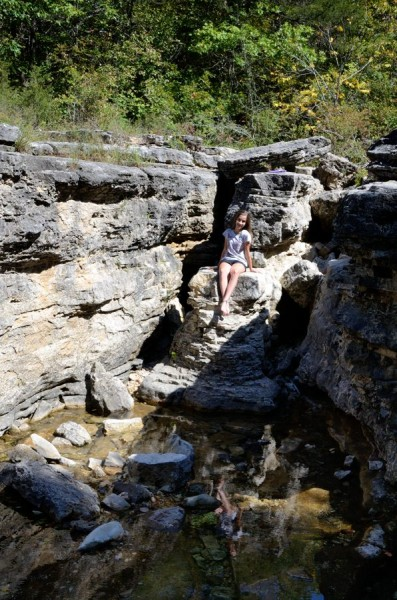 Lanie in the dry Long Creek Falls