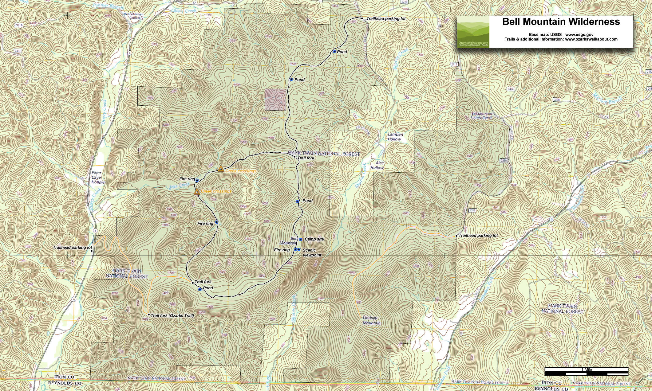 Ozark Mountains Topographic Map.Trail Map Bell Mountain Trail Ozarks Walkabout