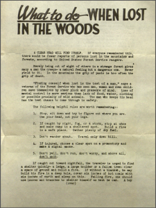 What to do when lost in the woods - 1946 Forest Service safety flyer