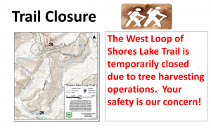 West loop of shores lake trail closed