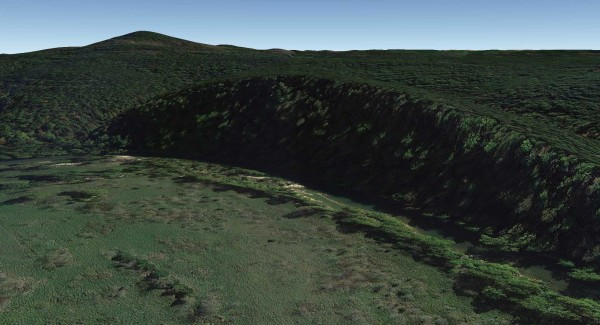 Google Earth View of the Bluff - Lower Pilot Knob in the distance.