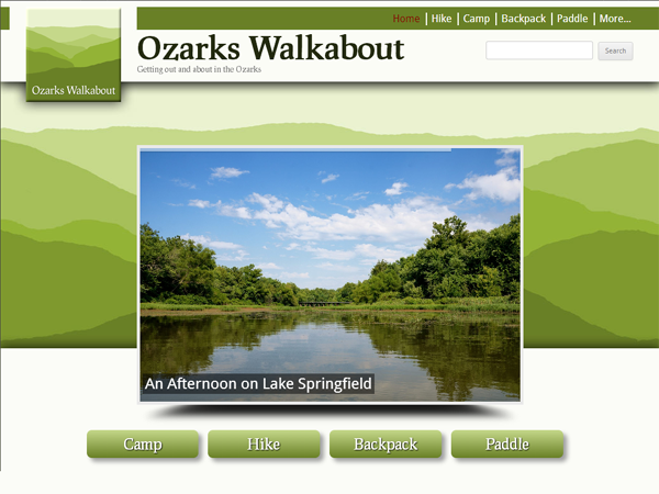 An image of the new Ozarks Walkabout homepage.