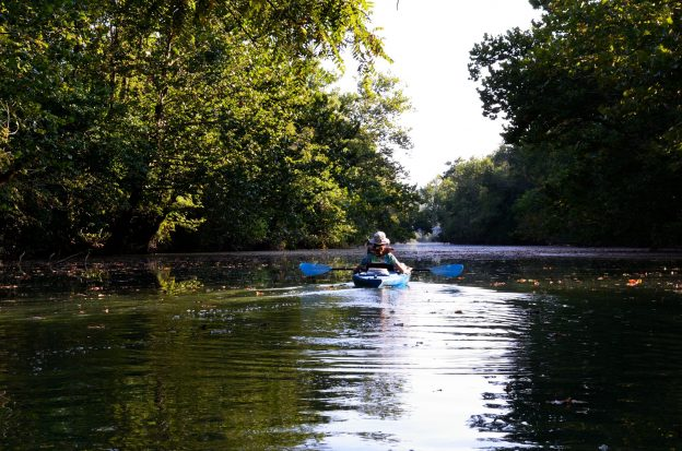 paddling on the James Rive in the late afternoon