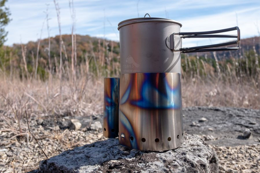 Boiling water on a Trangia alcohol stove. Titanium wind screen, and Toaks 850ml cook pot.