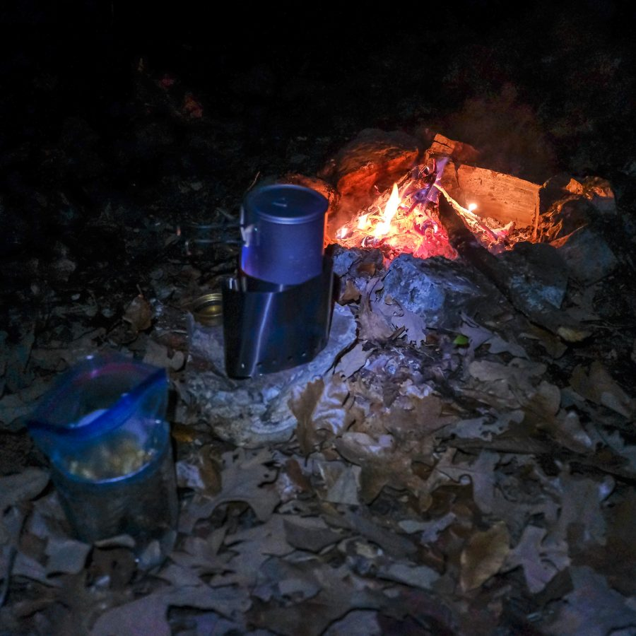 Cooking dinner on a Trangia alcohol stove.