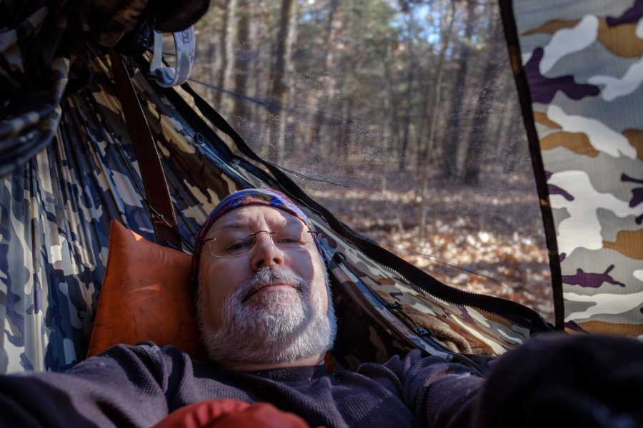 Gary Allman, lounging in his Dutchware Chameleon hammock, waiting for the temperatures to rise.