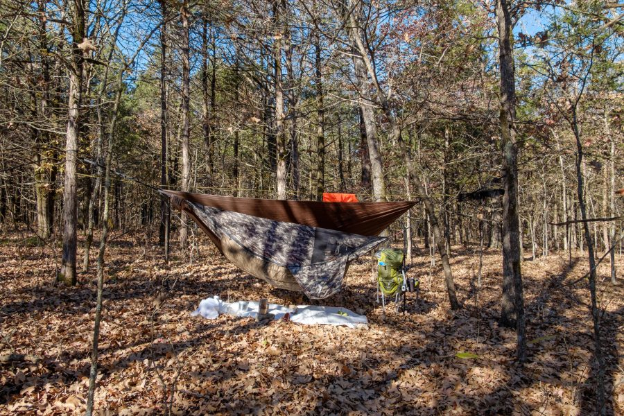 Dutchware Chameleon hammock with winter cover, and Hammock Gear Tarp and Econ Incubator 10° Under quilt. Hercules Glades Wilderness.