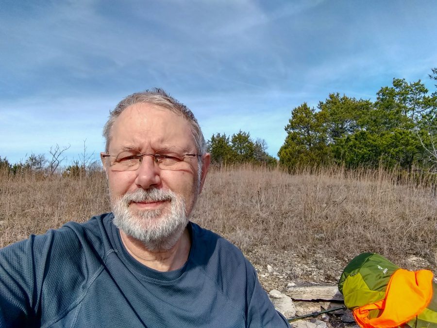 Gary Allman, stopped in a glad for lunch. Hercules Glades Wilderness.