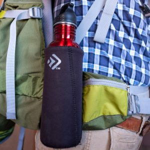 Outdoor Products stainless steel water bottle on a Deuter backpack hip belt.